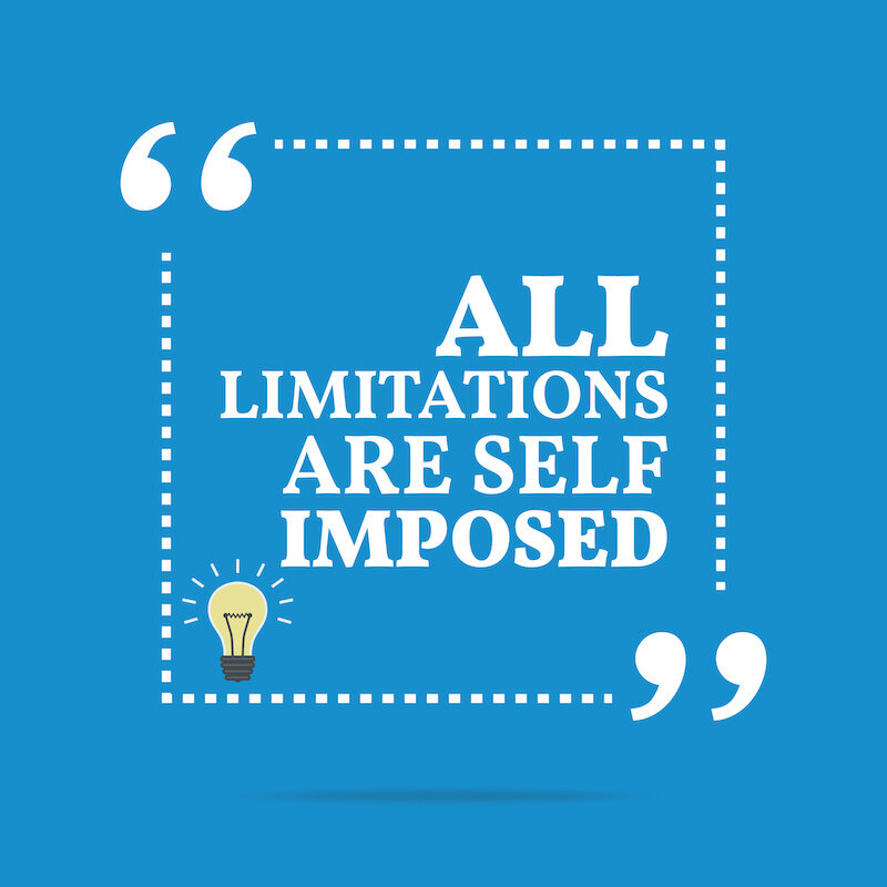 """The words """"all limitations are self imposed"""" written in white on a blue background with a lightbulb underneath."""