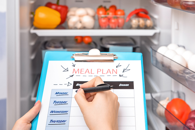 meal planning with clipboard