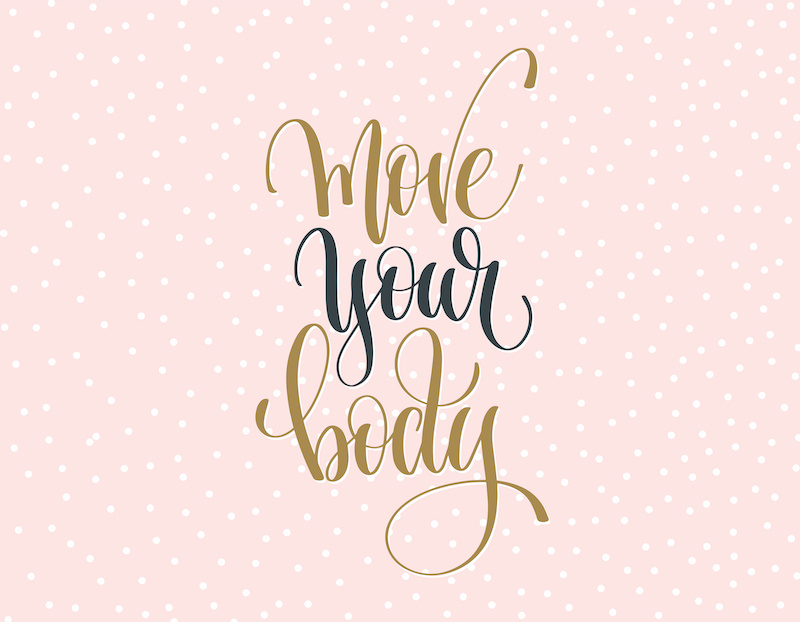 The words 'move your body' on a pink background.