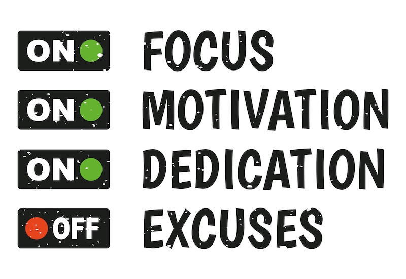 A graphic that has the words 'focus, motivation, dedication' with green on buttons and the word 'excuses' with a red off buttoni.