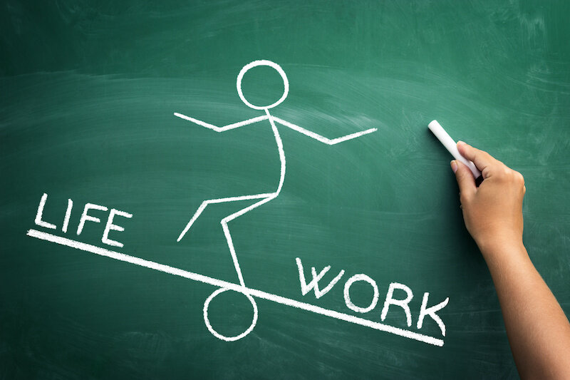 Work and life balance concept, hand drawn sketch on blackboard of a stick person balancing between work and life