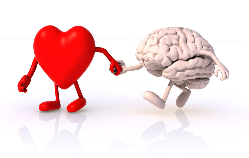 heart and brain holding hands