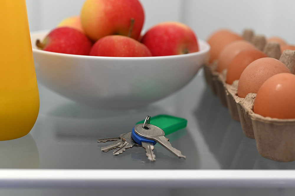 Close up of a shelf in the refrigerator. There is a set of keys sitting on the shelf in front of a bowl of fruit and next to a carton of eggs.